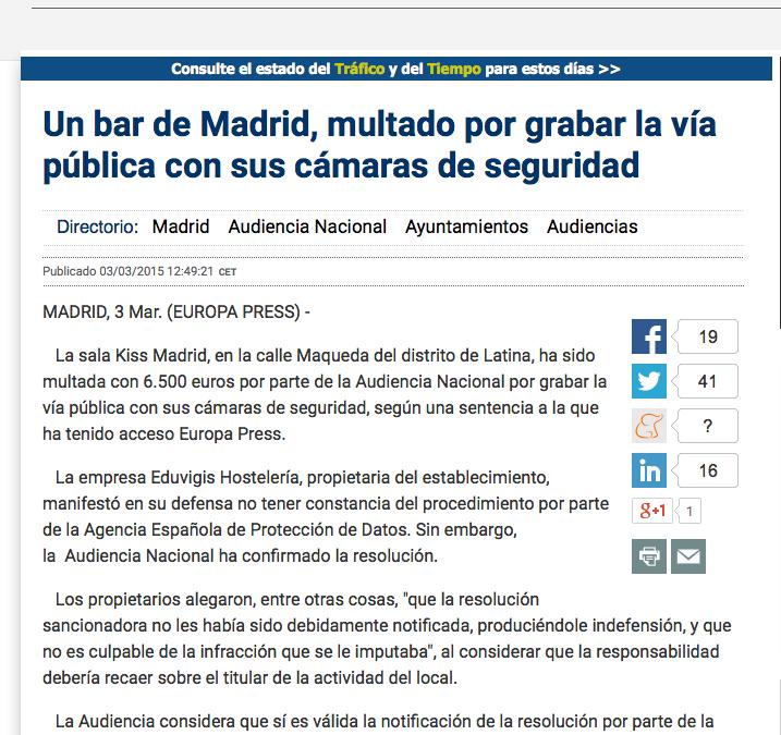 Un bar de Madrid, multado por grabar la vía pública con sus cámaras de seguridad
