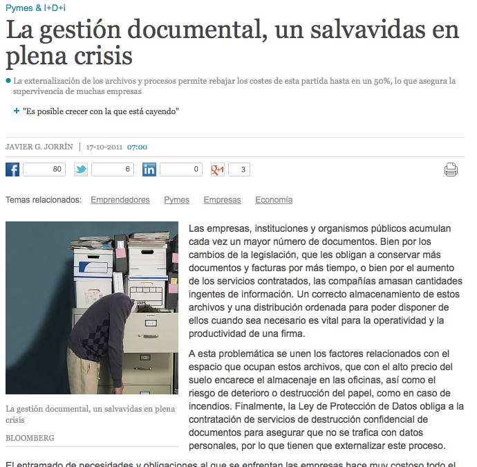 La gestión documental, un salvavidas en plena crisis
